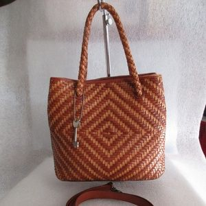 Fossil 2 Tone Brown Leather Weave Satchel
